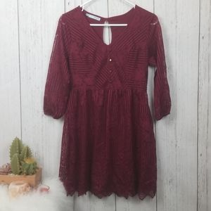 Maroon lace dress size XS Maurices